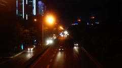 Guangdong, China: the night of the highway traffic landscape Stock Footage