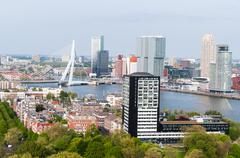ROTTERDAM, NETHERLANDS - MAY 10: Cityscape from the Euromast tower on May 10 - stock photo