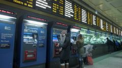 New York Penn Station Long Island Railroad, departure board, ticket cou - stock footage