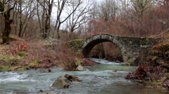 Traditional stone bridge in Greece Stock Footage