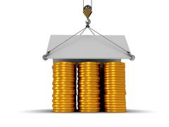 Stock Illustration of 3D house build with gold coins