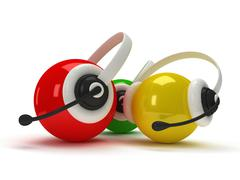 colored orbs with headset isolated over white - stock illustration