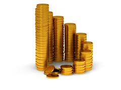 Stock Illustration of 3D schedule of golden coins as spiral staircase
