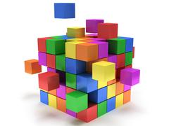 Cubes block. Assembling concept. On white. - stock illustration