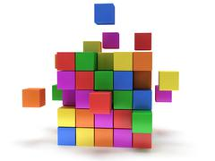 Cubes block. Assembling concept. On white. Stock Illustration