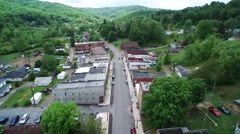 Small Town America with Green Mountain Background Stock Footage