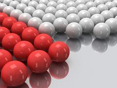 Red and white balls on mirror floor. 3D. Stock Illustration