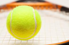 Abstract Tennis Ball, Racquet and Nylon Strings. - stock photo
