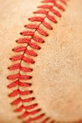 Macro Abstract Detail of Worn Leather Baseball. - stock photo