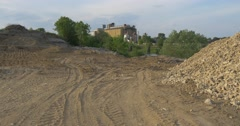 Road to Cement Factory by Heap of Granite Dust Concrete Plant no People at Dull Stock Footage