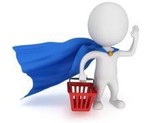 Brave superhero merchandiser with blue cloak - stock illustration
