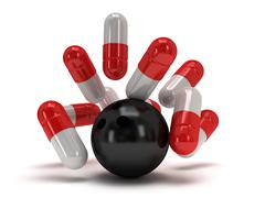 3d medical pills strike with bowling ball - stock illustration