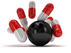 Stock Illustration of 3d medical pills strike with bowling ball