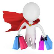 Brave superhero shopper with red cloak - stock illustration