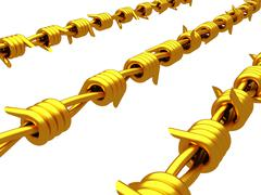 Stock Illustration of Gold - Barbed wire