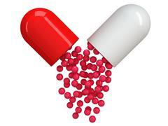 Stock Illustration of Opened red white pill capsule. 3D