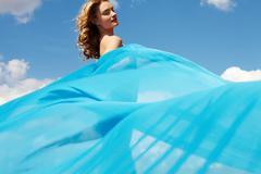 Blue drapery - stock photo