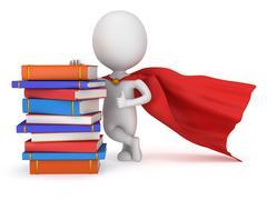 Brave superhero student with red cloak - stock illustration