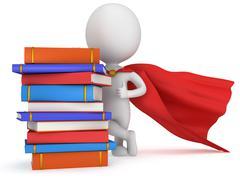 Brave superhero student with red cloak Stock Illustration