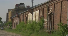 Old Brick Wall of Factory Abandoned Building Car is Parked Dull Industrial Stock Footage