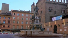 Bologna,neptune fountain steady cam shot 4k Stock Footage
