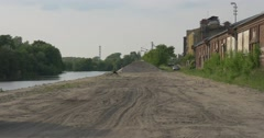 Road to Cement Factory Along River Concrete Plant Dull Industrial Landscape Arkistovideo