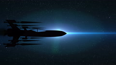Futuristic Spaceship Silhouette Jet in Outer Space Animation, 4K Arkistovideo