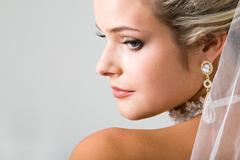 Half face of fiancee - stock photo