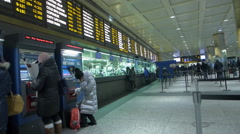 New York Penn Station Long Island Railroad, departure board, ticket cou Stock Footage