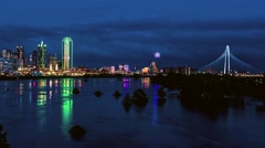 Dallas Skyline Time-lapse Zoom in w/ Reflection NICE! Stock Footage
