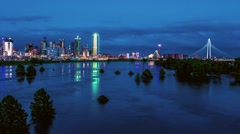 Dallas Skyline Time-lapse at Dusk reflecting in Trinity River Stock Footage