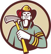 Fireman Firefighter Holding Fire Axe Circle Retro Piirros