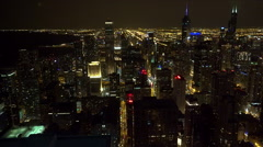 Aerial view of illuminated Chicago downtown at night. Stock Footage