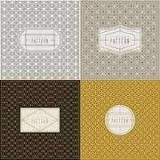 Stock Illustration of vintage graceful thin line pattern collection