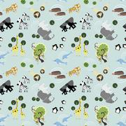 Adorable animals seamless background Stock Illustration