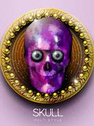 Stunning purple crystal skull cover design Stock Illustration
