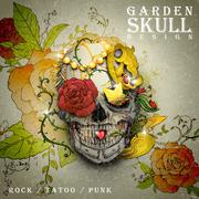 Attractive garden skull design poster Stock Illustration
