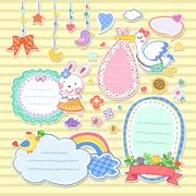 Adorable colorful animals memo set Stock Illustration
