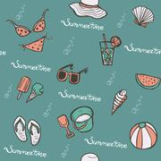 Lovely summertime hand drawn beach essentials Stock Illustration