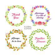 grateful watercolor floral frame collection - stock illustration