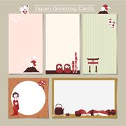 memo set with traditional Japan culture representative things - stock illustration