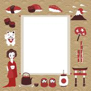 memo with traditional Japan culture representative things - stock illustration