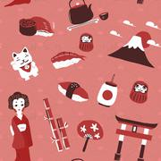 traditional Japan culture seamless background - stock illustration