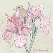Stock Illustration of graceful floral background with bird