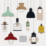 Retro ceiling lamps collection Stock Illustration