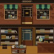retro flat design of bookshop - stock illustration