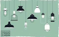retro ceiling lamps collection - stock illustration