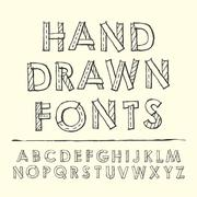 simplicity hand drawn fonts design - stock illustration