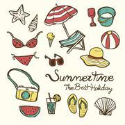 Lovely summertime essentials Stock Illustration