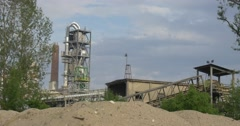 Tubes on Tower and Other Melal Constructions of Grain Elevator, Wide Shot Stock Footage